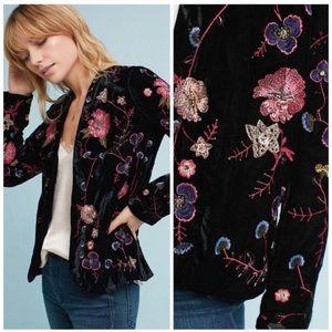 Anthropologie Embellished Velvet Jacket NWT M
